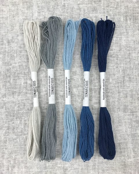 89a9c8e25 Naturally Dyed Embroidery Thread Blue Set by Temaricious